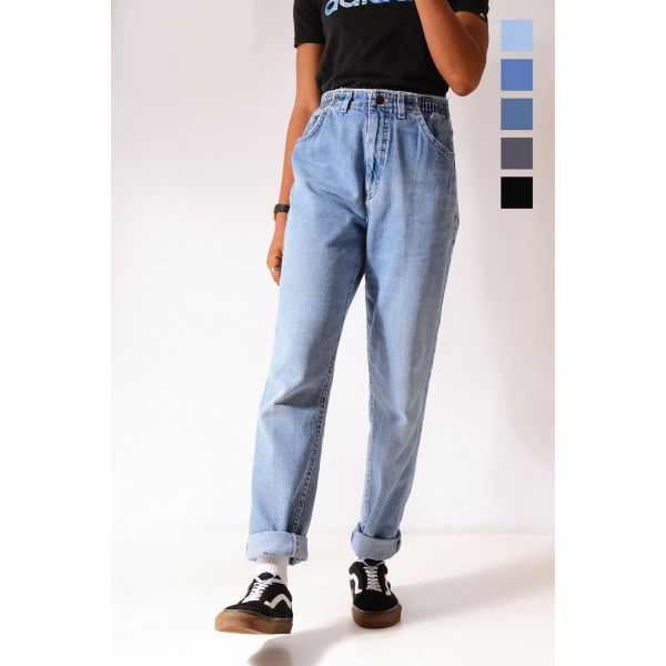 Vintage Lee Elasticated High Waist Relaxed Tapered Mom Jeans